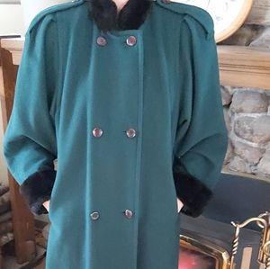 Vintage cashmere wool blende coat fur accents